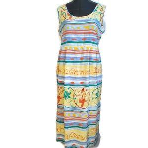 Jams World Sleeveless Midi Dress L cruise vibrant
